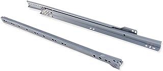 Emuca - Coulisses pour tiror de 800mm avec Sortie partielle en Couleur Gris métallisé, Paire de glissières de tiroir