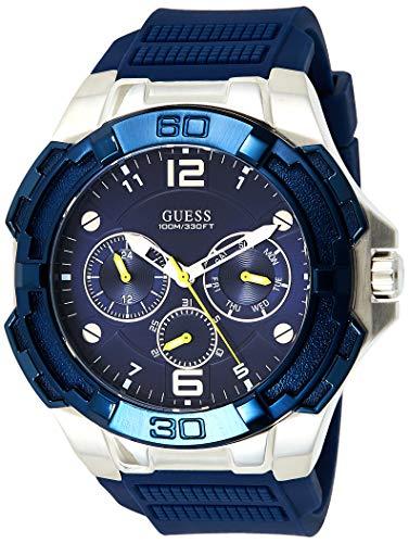 Guess Genesis Herren Uhr analog Quarzwerk mit Silikon Armband W1254G1