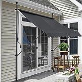pro.tec Klemmmarkise 150x120x200-300cm Sonnenschutz Balkonmarkise ohne Bohren Markise Grau