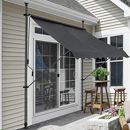 pro.tec Klemmmarkise 250x120x200-300cm Sonnenschutz Balkonmarkise ohne Bohren Markise Grau