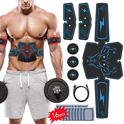 EMS Muskelstimulator,Wiederaufladbares Bauchmuskeltraining Gerät,EMS Trainingsgerät Bauchmuskeltrainer - Bauch-/Bein-/Armmuskeltoner für Männer und Frauen mit 16PCS Gel Pads