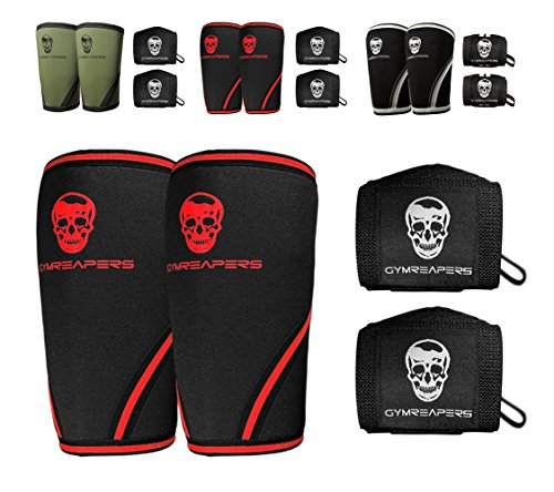 Elbow Sleeves (1 Pair) W/ Wrist Wraps - Support & Compression for Powerlifting, Weightlifting, Bench & Tendonitis - 5mm Neoprene Sleeve - For Men & Women (Black/Red, Large)