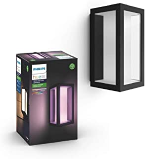 Philips Hue White and Colour Ambiance LED Impress Hue Wall Lantern Slim Black, Compatible with Alexa