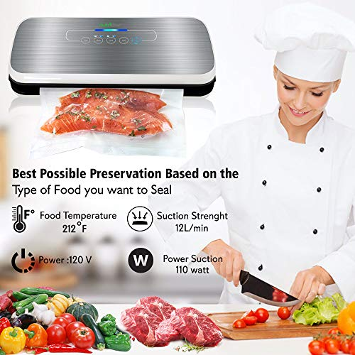 Vacuum Sealer By NutriChef   Automatic Vacuum Air Sealing System For Food Preservation w/ Starter Kit   Compact Design   Lab Tested   Dry & Moist Food Modes   Led Indicator Lights (Silver)
