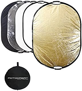 """FOTOCREAT 5-in-1 Oval 60""""×80""""(150×200cm) Professional Collapsible Multi-Disc Light Reflector with Handles for Photography ..."""