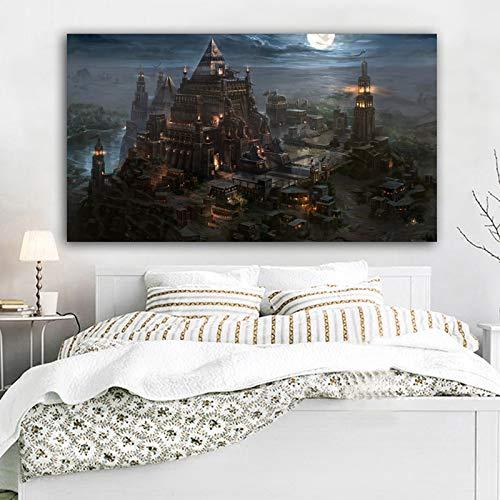ganlanshu Rahmenlose Malerei Leinwandmalerei Plakate und Drucke von Cartoon-Schlossgebäuden unter MondscheinmondwandkunstZGQ6133 70X126cm