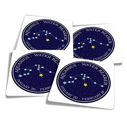 Pegatinas de vinilo (juego de 4) 10 cm – Aquarius Constellation Star Horóscopo Divertido Calcomanías para ordenadores portátiles, tabletas, equipaje, reserva de chatarra, frigoríficos #7483