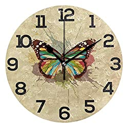 Dozili Vintage Retro Butterfly Round Wall Clock Arabic Numerals Design Non Ticking Wall Clock Large for Bedrooms,Living Room,Bathroom