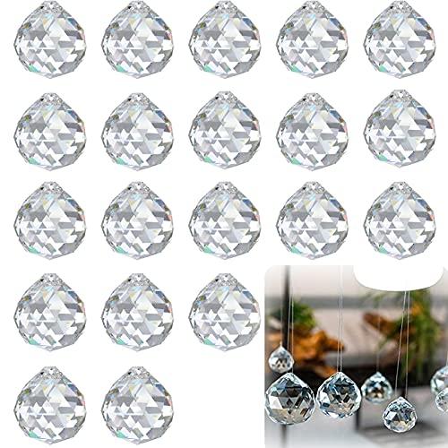 20pcs Prismas de Bola de Cristal Transparente Bola de Cristal Prisma Bolas...