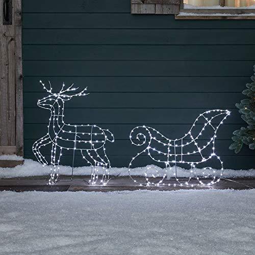 Lights4fun Renna e Slitta di Natale con Micro LED Bianchi per Uso in Esterni