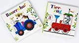 Juego de 2 puzzles de libro de granja y tren de animales + Minis sorpresa