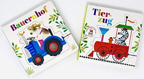 2-er Set Puzzle--Buch Bauernhof & Tierzug+ Gratis Minis Überraschung