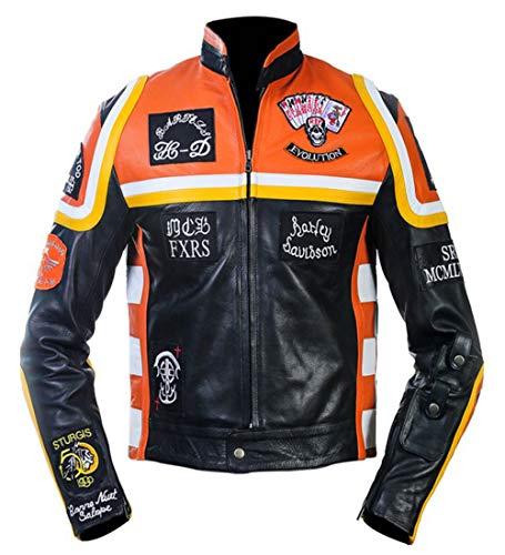 Dunhill Leather Herren, Damen Bikers Mickey Rourke (HDMR) Motorrad Biker Style Multicolor Lederjacke-m