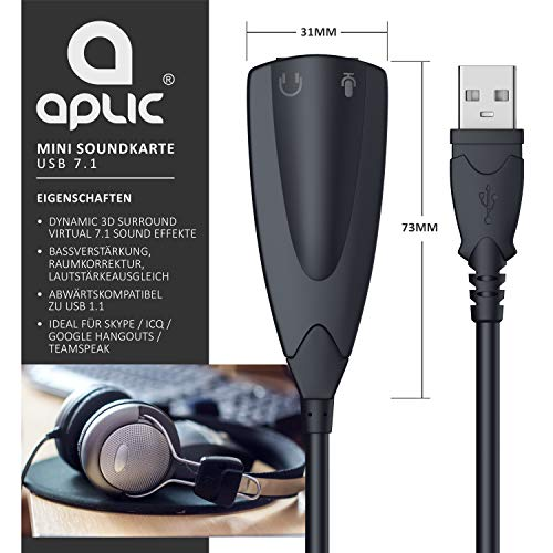 USB 7.1 Soundkarte extern - Virtual Surround - Sound Card Adapter - Dynamic 3D Surround - für Computer Notebook Ultrabook Tablet-PC MacBook - Plug & Play - Windows 10-kompatibel - schwarz