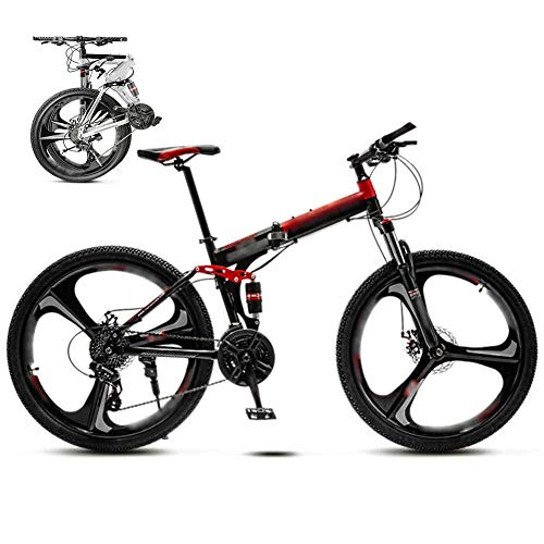 24-inch Folding Commuter Bike, 30-Speed Gear Dual disc Brake Mountain Bike, Off-Road Variable Speed Bike, red