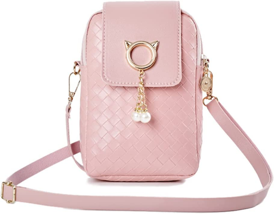 ISYSUII Crossbody Wallet Case for Motorola One 5G Ace 2021 Leather Case Cover Cell Phone Purse with Adjustable Shoulder Strap with Zipper Card Holder Shoulder Handbags Clutch for Women,Pink