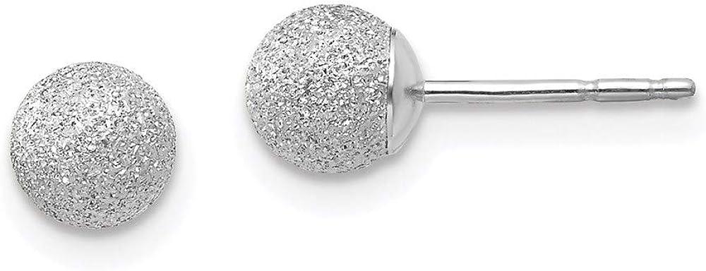 14K White Gold Madi K Laser Cut 5M Ball Post Earrings 5mm 5mm style SE2482