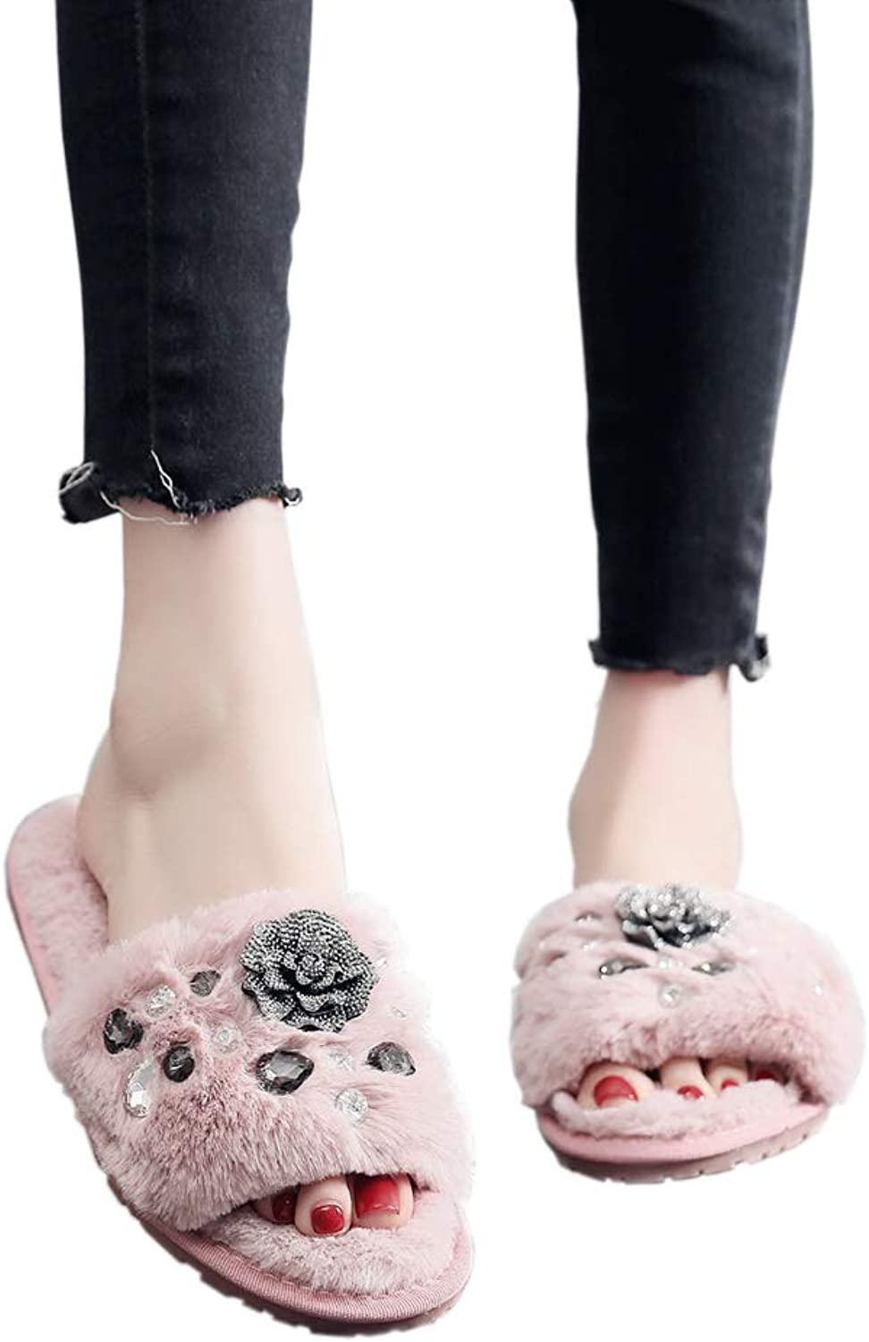 T-JULY Women's Fashion Flowers and Pearls Decoration Winter Sandals Flat Heel Plush Flip Flops Slides Fur Slippers