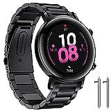 Diruite Compatible Huawei Watch GT 2 (versión de 42 mm) Correa,Nueva ActualizacióN Galvanoplastia Metal Acero Inoxidable Doble Cierre Desplegable