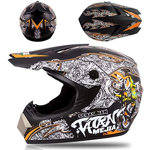 Motor off-road helm kinderen en adolescenten elektrische helm skelter volledige helm helm-Domme zwarte locomotief Lichte, comfortabele en veilige helm_XL