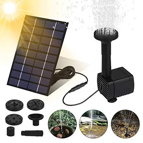 Solar Springbrunnen, Upgrade Solar Teichpumpe Garten Wasserpumpe Solarpumpe mit 2.0 W Monokristalline Solar Panel Brunnen für Gartenteich Vogel-Bad,Fisch-Behälter,Kleiner Teich,Garten Springbrunnen