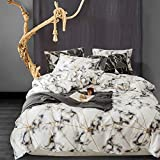 Cottonight White Marble Duvet Cover Queen Black and White Bedding Set Geometric Cotton Luxury Gold Triangle Bedding Duvet Cover Set Lightweight 3PC Super Soft