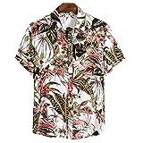 Manga Corta Hombre Verano Ligera Holgada Henley Camisa Moderna Cuello V Botón Placket Playa Shirt Casual Vacaciones Moda Estampado Hombre Hawaiana Camisa CS147 M
