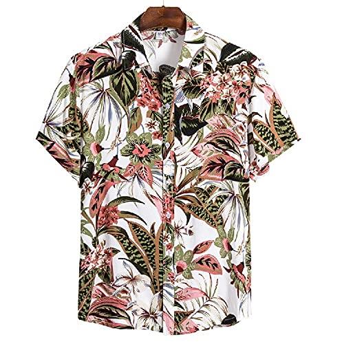 Camiseta Hombre Verano Moda Estampado Hombre Henley Camisa Moderna Cuello V Shirt Botón Placket Playa Shirt Liviana Casual Vacaciones Hombre Hawaii Camisa CS147 M