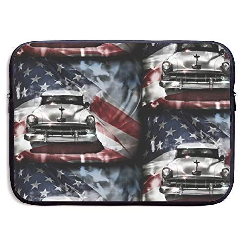 American Flag and Vintage Car 13-15 Inch Laptop Sleeve Bag Portable Dual Zipper Case Cover Pouch Holder Pocket Tablet Bag,Water Resistant,Black