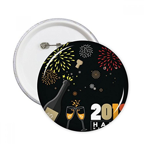2018 Alcohol Wijnglas Vuurwerk Nieuwjaar Ronde pinnen Badge Knop Kleding Decoratie 5 stks Gift XXL Multi kleuren