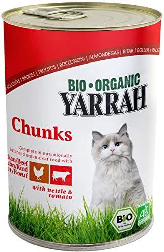 Yarrah cat blik brokjes kip/rund in saus kattenvoer 405 GR