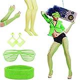 LAMEK 5 Pezzi Set di Costumi Anni '80,Accessori da Donna per Feste con Giarrettiera Orecchini Occhiali Calza a Rete Guanti a Rete per Donne Ragazze Carnevale Lampeggiante (Verde Fluo)