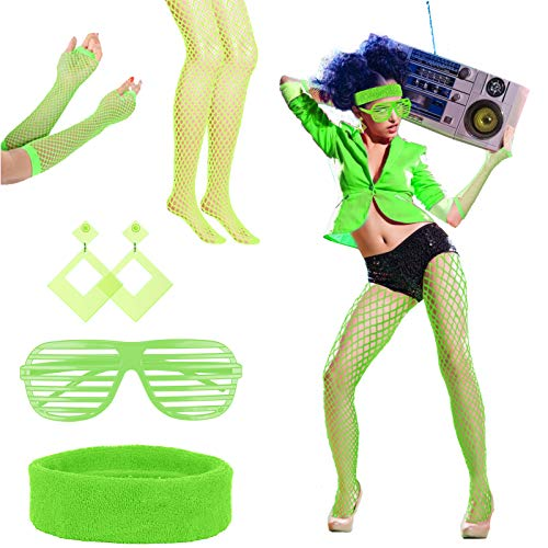 LAMEK Set de 5 Année 80 Déguisement Accessoire avec Bandeau Boucles d'oreilles Lunette Chaussettes résille Gants Accessoires pour Femme Fille Halloween Carnaval Fête (Vert)