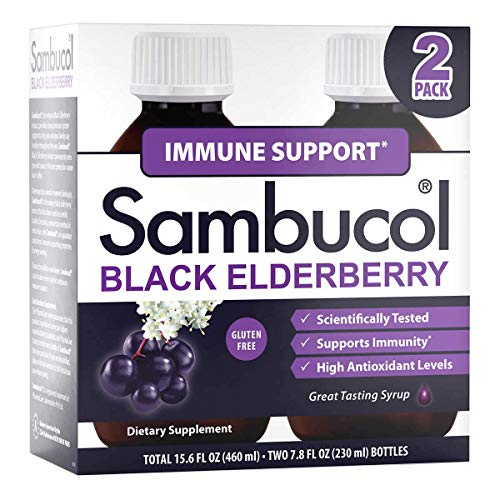Sambucol Black Elderberry Immune Support Syrup, Total 15.6 Ounces, Pack of 2