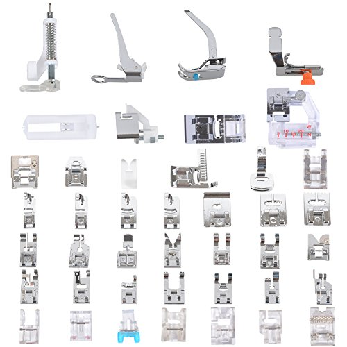 Sewing Machine Presser Feet Set 42 Pcs for Brother, Babylock, Singer, Janome, Elna, Toyota, New Home, Simplicity, Necchi, Kenmore, and Most of Low Shank Sewing Machines