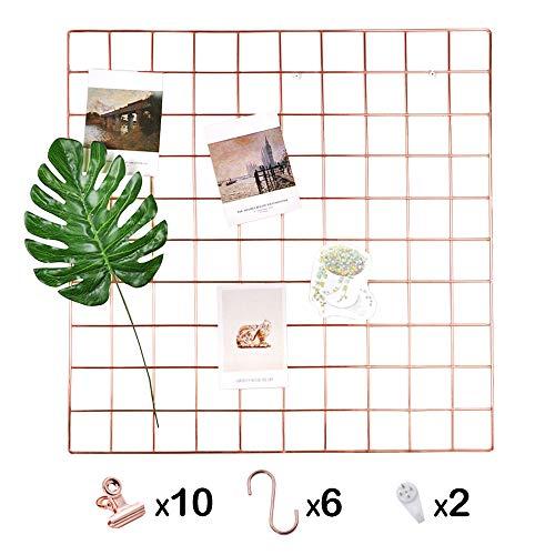 ANZOME Wandgitter, Gitter Pinnwand Dekoration mit 6 S-Haken und 10 Klammern, Schreibtisch Organisation für memo Artwork, Rosegold deko - 58 * 58 cm, Zubehör sind 2 Nahtlose Nägel