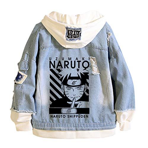LOOVEE Naruto Giacca di Jeans, 3D Kakashi Uchiha Sasuke Uzumaki Naruto Giapponese Anime Cosplay Casual Jacket Cappotto Autunno Inverno Felpa con Cappuccio Hoodie per Uomo Donna Coppia (D1,M)