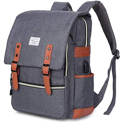 Modoker Herren Vintage Rucksack Herrenrucksack mit USB Laptop Retro Segeltuch Daypack Backpack Schulrucksack Reisetasche Lederrucksack Wasserdicht Dauerhaft Schulterpackung Reisetasche 15 Zoll,Grau