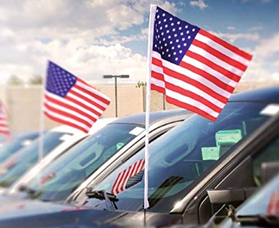 USA Cloth Antenna Flag Pack of 12, American Patriotic Flag for Cars and Trucks