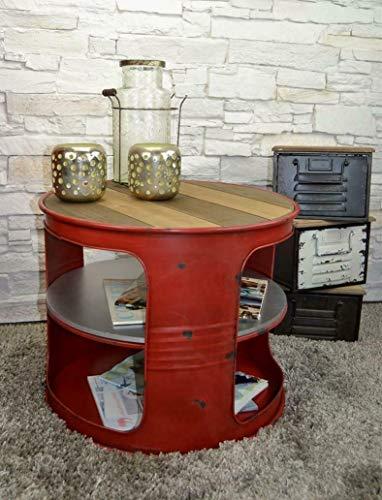 Livitat® Couchtisch Beistelltisch Weiß Metall Ölfass Vintage Industrie Look LOFT Shabby LV5028 (Rot)