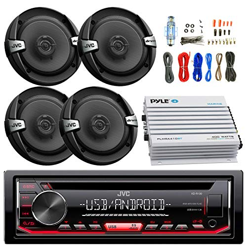Great Features Of JVC KDR490 Car Radio USB AUX CD Player Receiver - Bundle Combo with 4X 6.5 Inch 30...