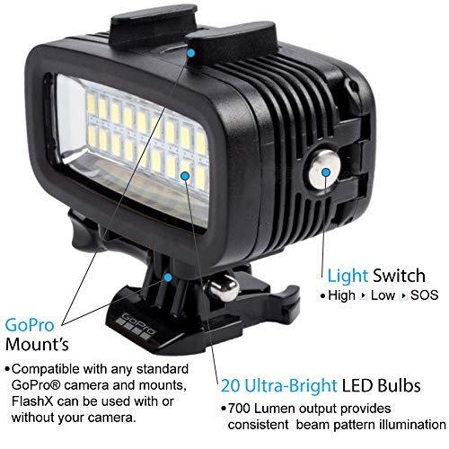 FLASHX Diving Light High Power Dimmable Waterproof 700 Lumen LED Video Fill Night Light Diving Underwater Light Waterproof 147ft(40m) for Gopro Hero 9/8/7/6/5/5S/4/4S/3+/2/SJCAM/YI Action Cameras