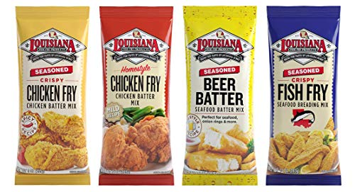 Louisiana Fish Fry, Breading Variety Gift Pack (Pack of 4) - Seasoned Fish Fry, Beer Batter Mix, Crispy Chicken Batter Mix, Homestyle Chicken Fry