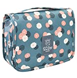 Toiletry Bag for Women Men,Large Makeup Cosmetic Bag Travel Organizer for Accessories, Shampoo, Full Sized Container, Toiletries Blue Flowers