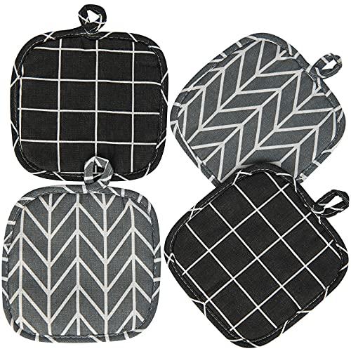 4er Set Topflappen, 18X18cm Baumwolle Topflappen Waschbare Schutzlappen zum Kochen Backen Küchenzubehör - Schwarz und Grau