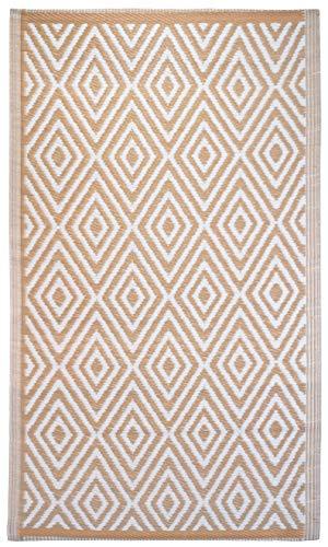 Brandsseller - Tappeto per interni ed esterni, ca. 90 x 150 cm, resistente alle intemperie, per giardino, terrazza, balcone, motivo a rombi, colore: Nero