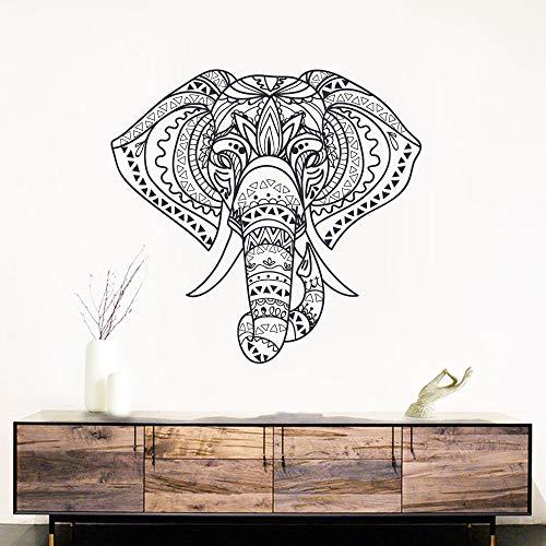 jiuyaomai Religiöser Mandala Elefant Wandaufkleber für Wohnzimmer Hausdekoration Tier Aufkleber abnehmbares Vinyl Wandbild E58x61cm