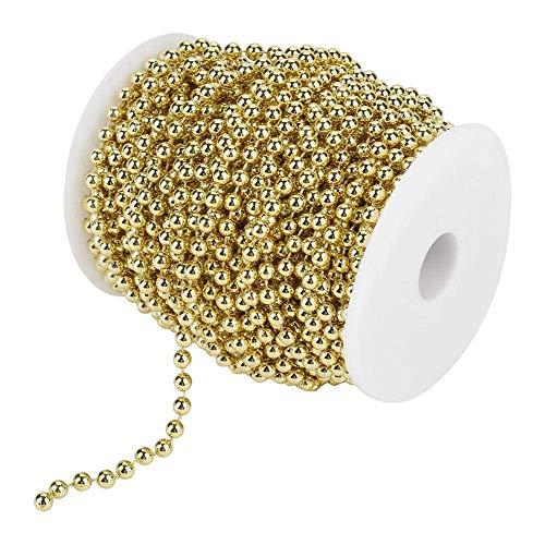 no-branded Rollo de 25 m de cuentas de galvanoplastia de perlas de alambre de imitación para decoración de bodas, fiestas, 6 mm (dorado)