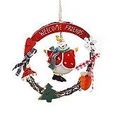 Garland Decoración de Navidad redonda de ratán colgante de Santa Claus muñeco de nieve Nordic corona de Navidad Día de ventana Puntales de madera hecho a mano de la guirnalda de estilo rural 17cm Rojo