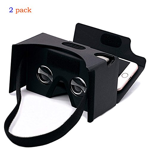 2Pack Google Cardboard 3D Virtual Reality Headset Glasses,DIY vr Cardboard Compatible with 3 6inch Screen Android and iphone Smartphone(Black)